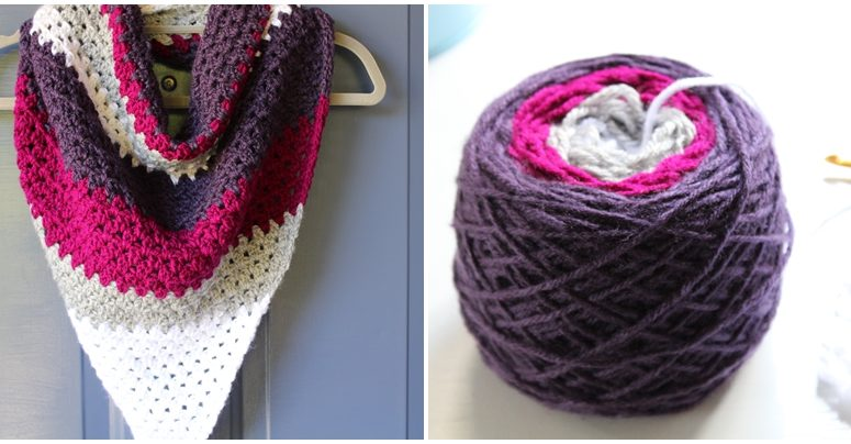 Make a speedy crochet triangle scarf woth your own yarn cake!