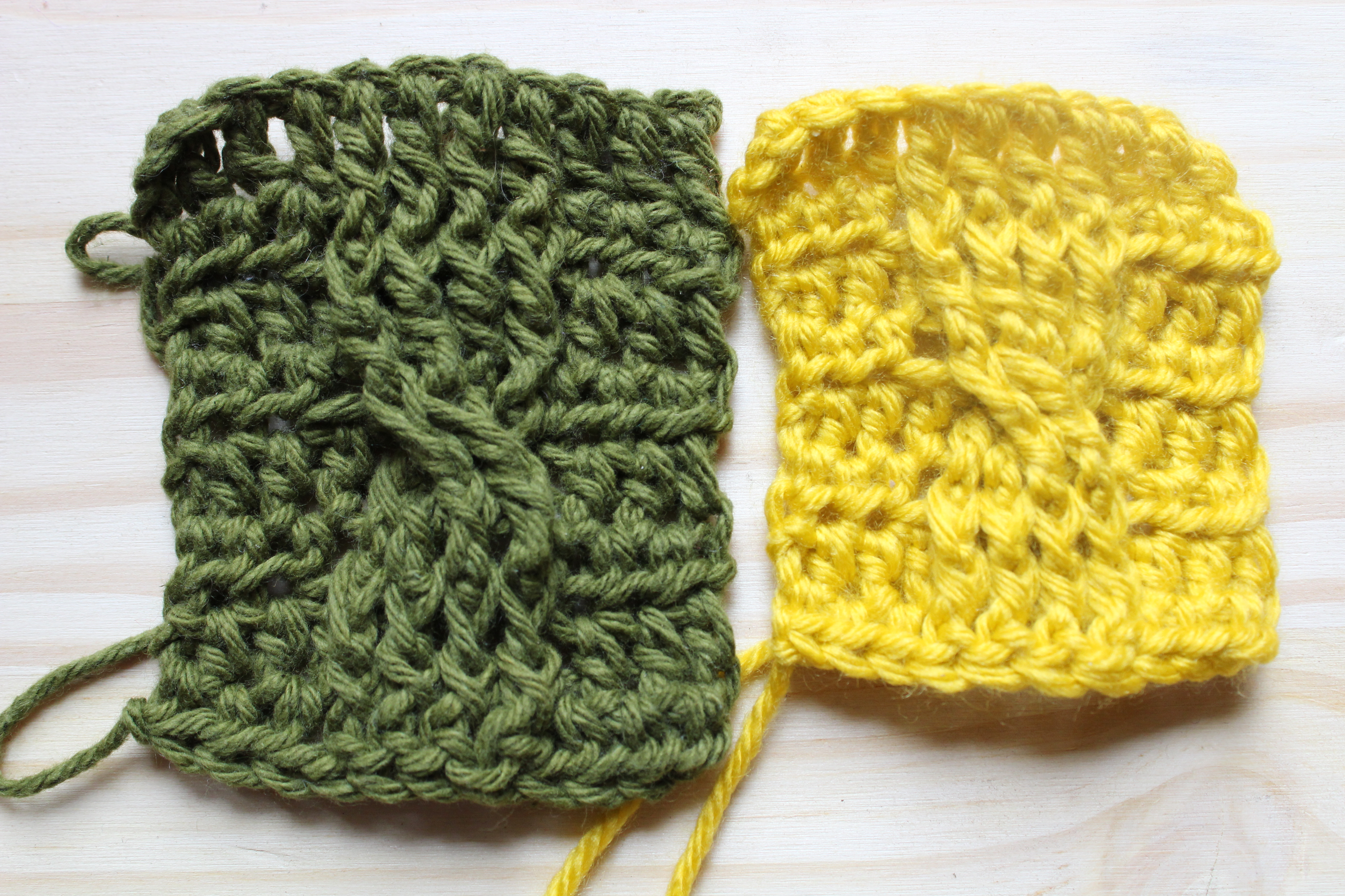 Left swatch: Lily sugar n' cream cotton; Right swatch: Knit Pick's Mighty Stitch