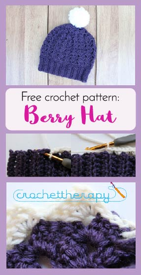 Free Crochet Berry Hat Pattern Textured Stitch And Ribbed Brim