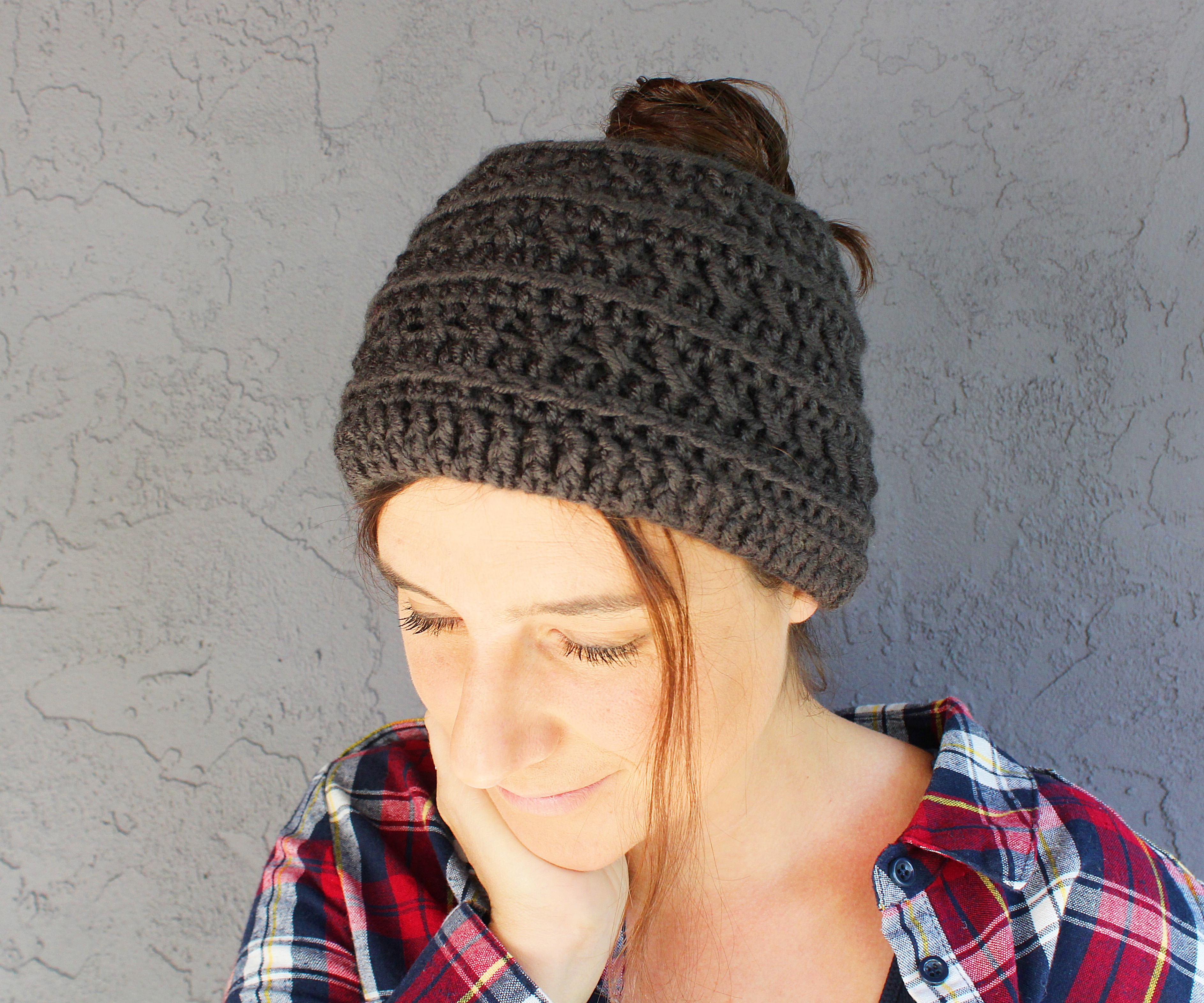 free crochet ponytail hat pattern boho