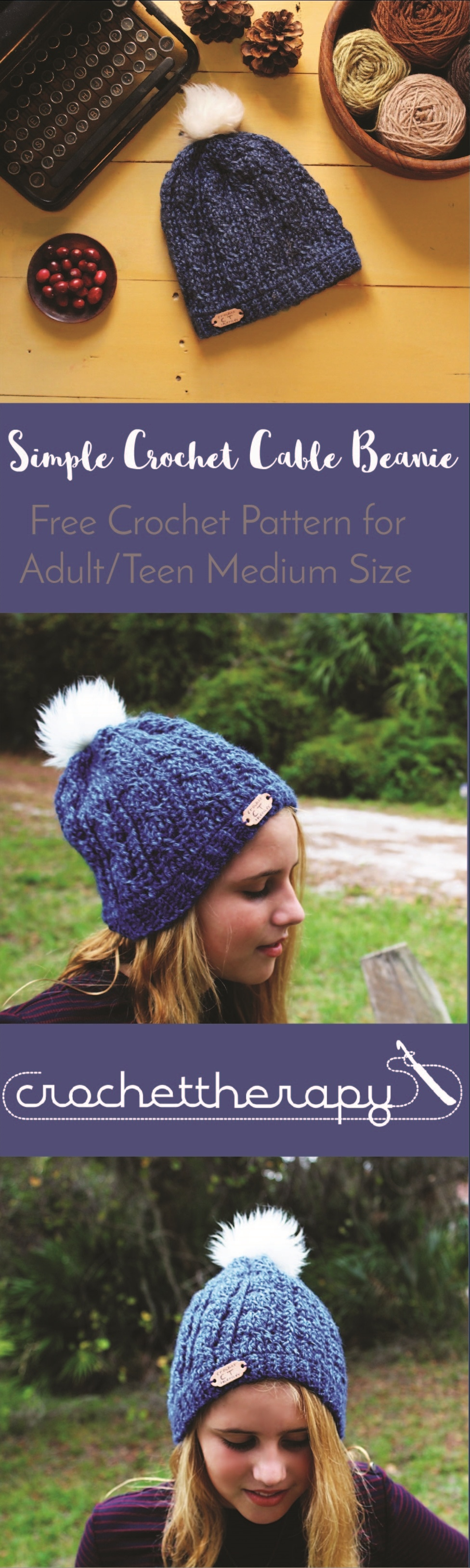 simple crochet cable beanie - free cable hat pattern